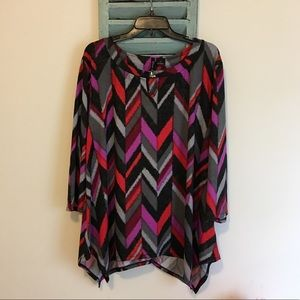 ND New Direction Chevron 3/4 Sleeves Top 3X